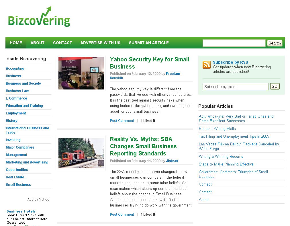 Bizcovering homepage